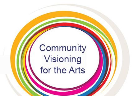 Colorful circle with text in the middle - Community Visioning for the Arts