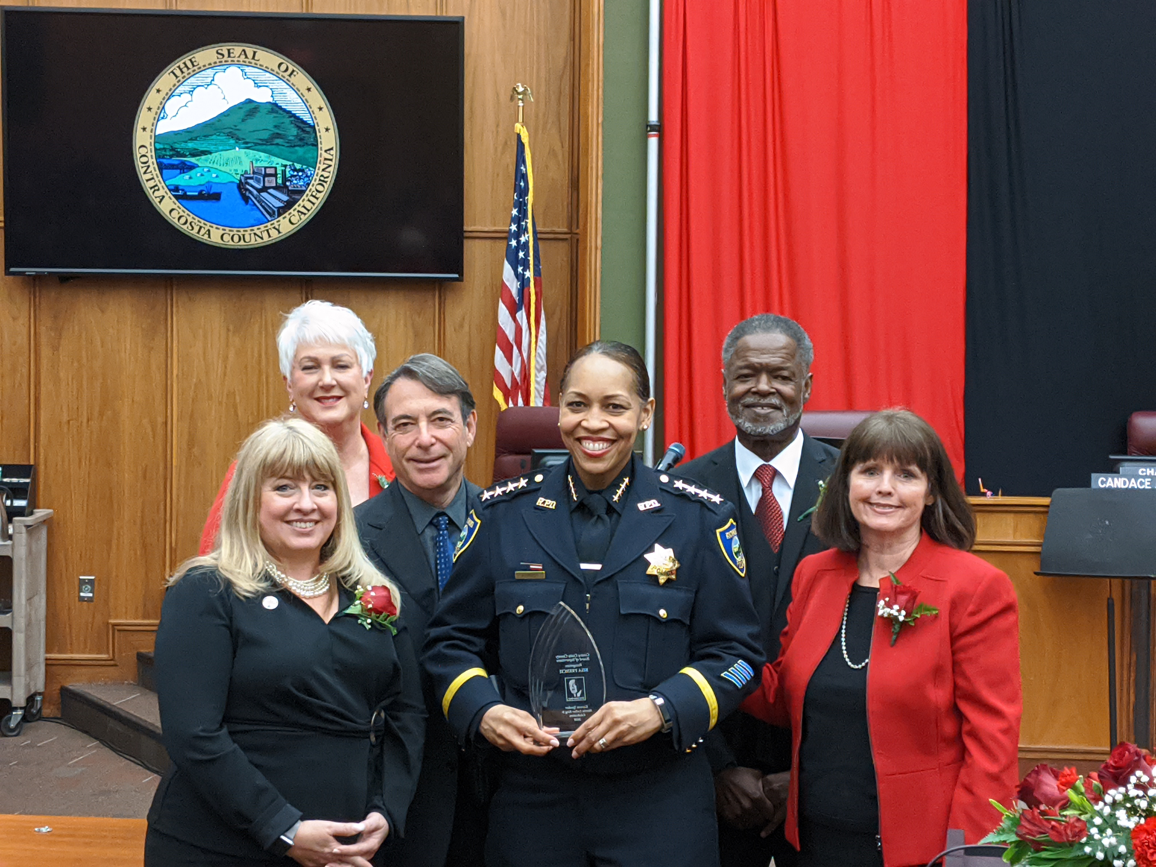 Chief French accepting award from Board of Supervisors