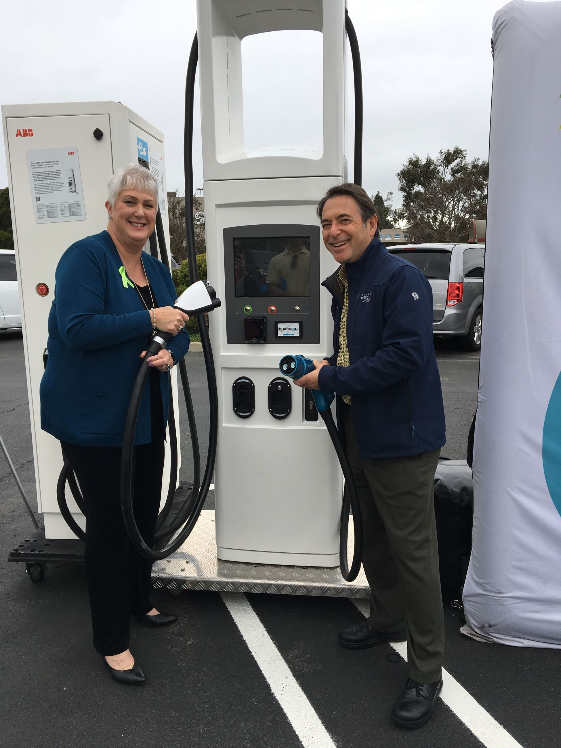 Supervisor Mitchoff and Supervisor Gioia with electric charging station