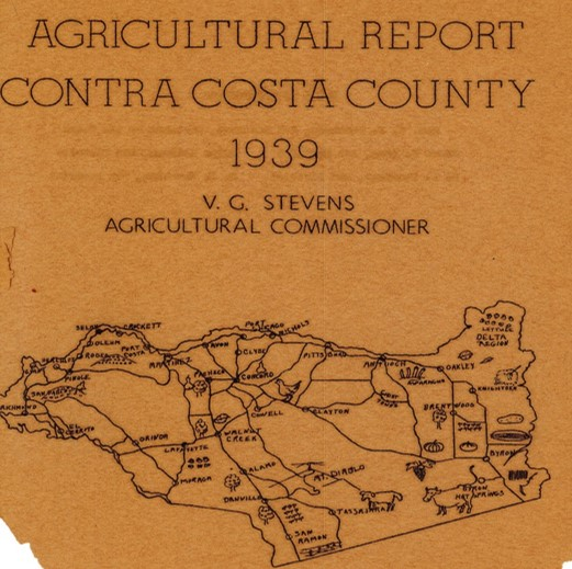 1939 Crop Report cover showing a drawing of Contra Costa County with different agricultural crops Opens in new window