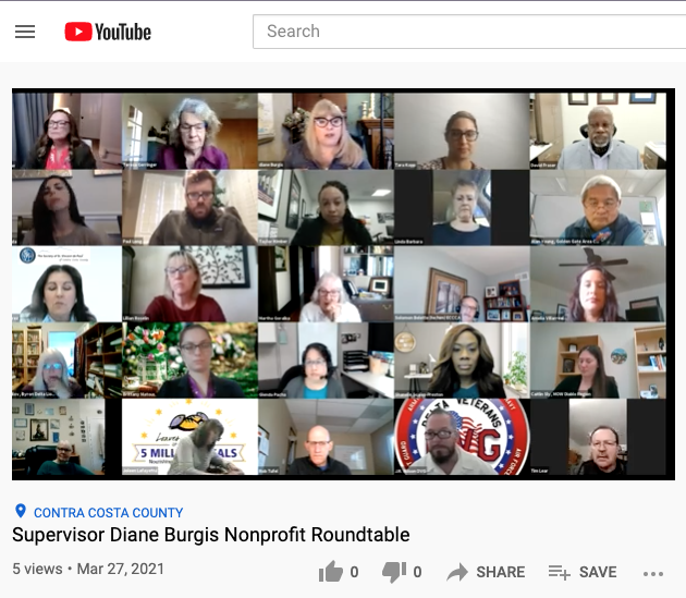 Photo of Supervisor Burgis' Nonprofit Roundtable Zoom 3.25.2021 Opens in new window