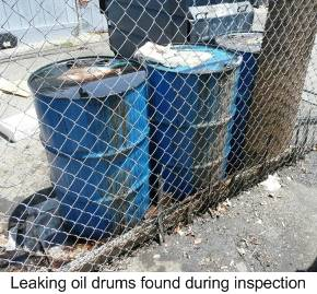 Leaking oil drums found during inspection
