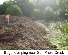 Illegal dumping near San Pablo Creek