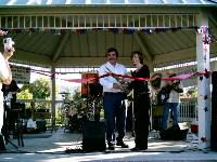 Supervisor Piepho and Steve Mick cutting ribbon